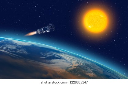 "Parker Solar Probe approaching the sun ""Elements of this image furnished by NASA """