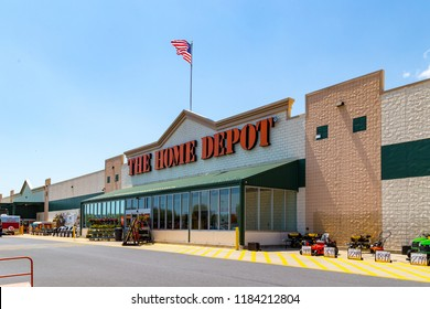 Parkesburg, PA, USA - May 3, 2018: Home Depot is an American home improvement supplies retailer with over 2000 locations that sells tools, construction products, and services.