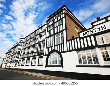 PARKGATE, WIRRAL - SEPTEMBER 18, 2016: Apartments. Parkgate is a village on the Wirral Peninsula, situated on the coastline of the River Dee, adjoining 100 square kilometres of salt marsh.