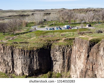 Parking area, trails and viewpoints at Palouse Falls State Park, WA, USA