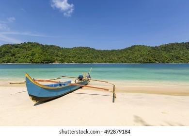 parking boat at the beach,,loctions Teluk kiluan Lampung indonesia