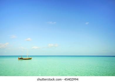 a parking boat at sea at maldives