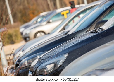 Parking cars with beautiful sunshine in wintertime
