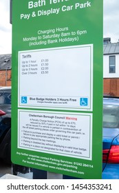 Parking Charges Sign in Cheltenham, UK.  May 2019