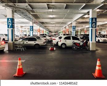 Parking lot of department store in Bangkok.
