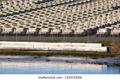 The parking lot full of military vehicles in Jacksonville city port (Florida).