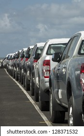 Parking lot full of new pick-up truck, panama, Central America