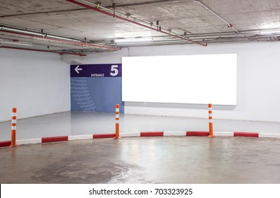 Parking garage department store interior with blank billboard