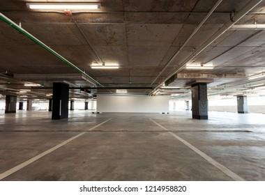 Parking garage interior, industrial building,Empty underground interior in apartment or in supermarket.