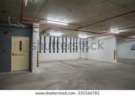 Parking Garage Interior Neon Lights In Dark
