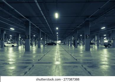 Parking garage parked cars