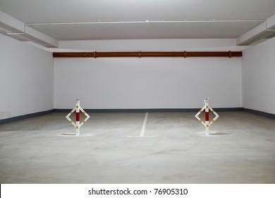 Parking garage, underground interior without cars