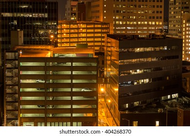 Parking garages at night in Harrisburg, PA.