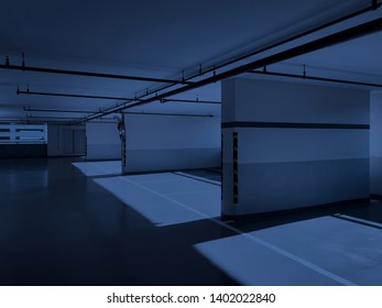 parking lots or parking space in condominium or office building at night