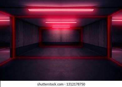 parking lot with neon light ,  dark underground garage