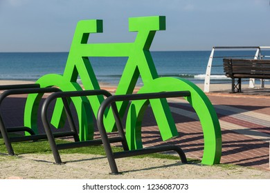 A parking place for bicycles near the sea