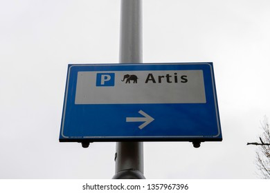 Parking Lot Sign For The Artis Zoo At Amsterdam The Netherlands 2019