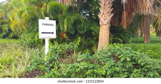 Parking sign in a tropical island