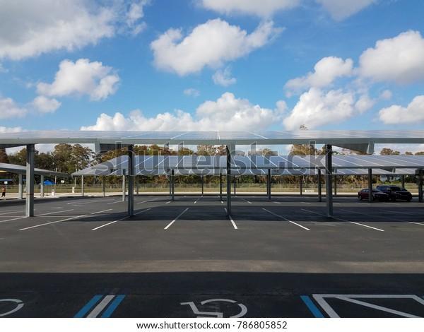parking lot with solar panel carports
