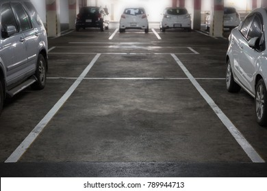 Parking spaces in the mall.