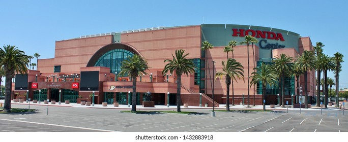 A parking view of the Honda Center entertainment arena in Anaheim California