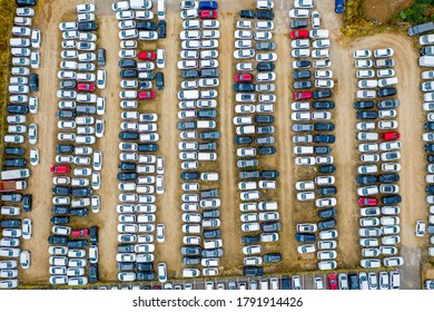 Parking lot or zone. Car parking area or space. Top aerial view.