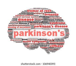 Parkinson's disease conceptual design isolated on white. Mental health symbol concept