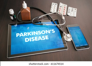 Parkinson's disease (neurological disorder) diagnosis medical concept on tablet screen with stethoscope.