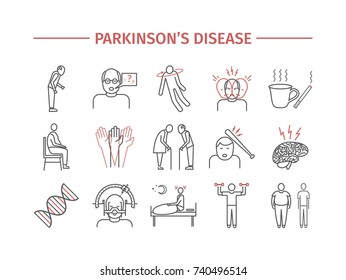 Parkinson's disease. Symptoms, Treatment. Line icons set.