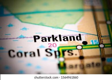Parkland. Florida. USA on a map