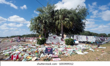 Parkland, Florida/United States - March 27 2018: A mass shooting in Marjory Stoneman Douglas High School has led to  outpouring of grief as well as student led protest for gun control.