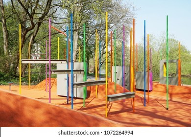 parkour obstacle course public outdoor training ground in Hannover, Germany