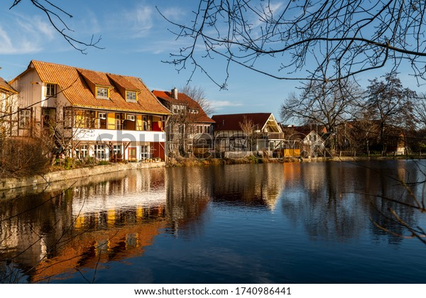 Parks and apartments on the lake in the small town of Ilsenburg