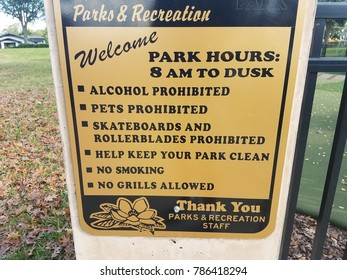 parks and recreation information sign