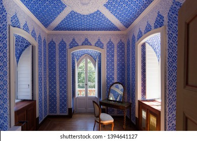 Parks of Sintra, Sintra Portugal-September 10, 2017 view inside the Chalet of the Countess D'Edla