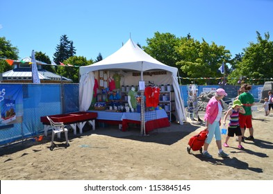Parksville Vancouver Island British Columbia sand castle competition July 2018, sponsored by Quality Foods.