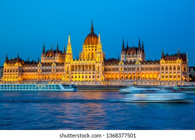 Parliament in Budapest at night, Hungary