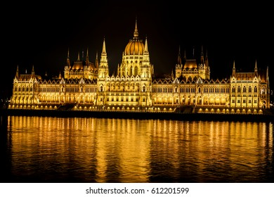 The parliament of Budapest. Night reflection.