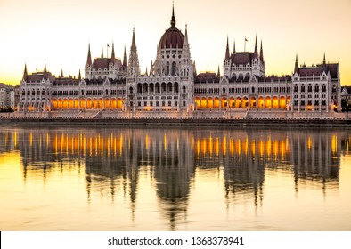 Parliament in Budapest at sunrise, Hungary