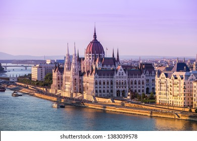Parliament in Budapest at sunset, Hungary