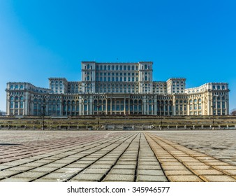 Parliament building in Bucharest Romania also called Casa Poporului. Second biggest building on Earth after Pentagon building in USA
