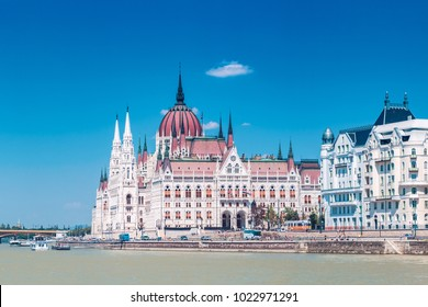 Parliament building of Budapest above Danube river in Hungary, side-view, neo-gothic style architecture