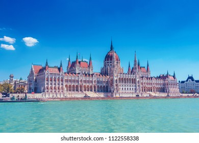 Parliament building of Budapest above Danube river in Hungary, neo-gothic style architecture