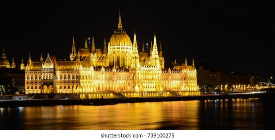 Parliament building of Budapest by night, Hungary