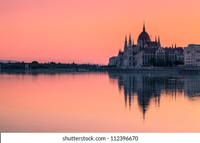 The Parliament Building in Budapest at Dawn