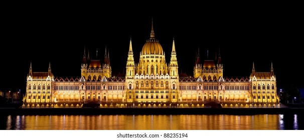 The Parliament building in Budapest, Hungary. High resolution panorama.