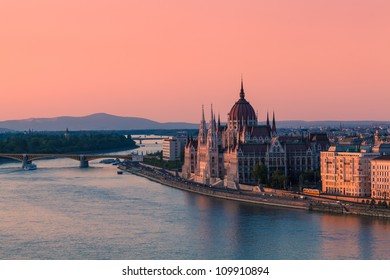 Parliament Building in Budapest, Hungary at sunset