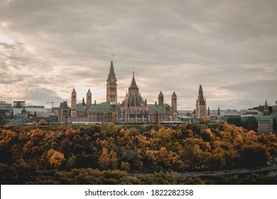 The Parliament building in Canada's capital city Ottawa shot during the colorful fall season on a cloudy day