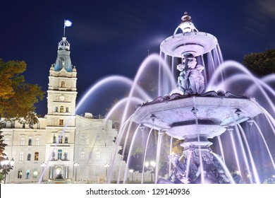 Parliament Building and fountain at night in Quebec City