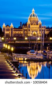 Parliament building illuminated at night, Victoria, British Columbia